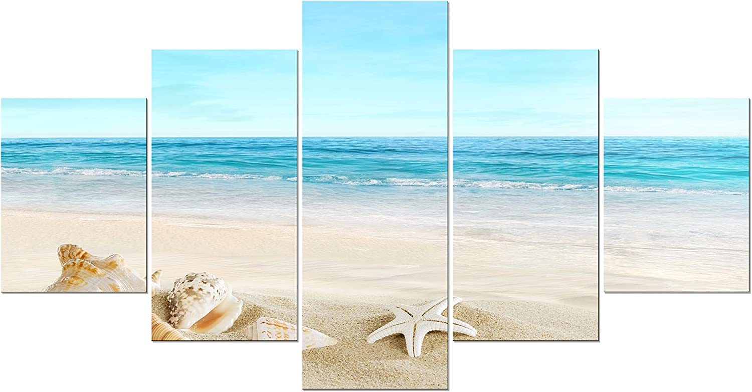 Love The Beach Printed Wood Effect Metal Wall Sign Plaque Art Sand Seaside Water