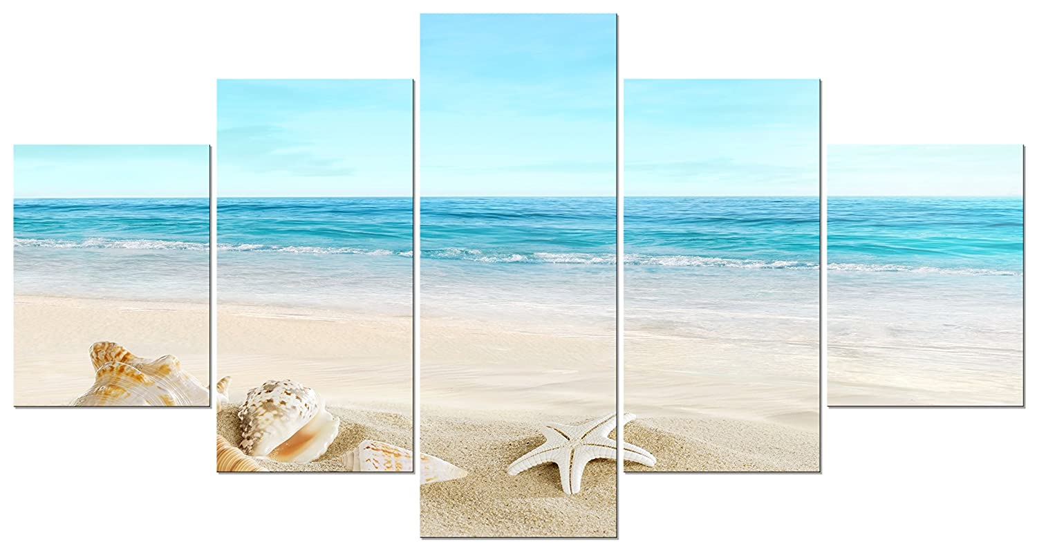 Pyradecor Seashell Large 5 Panels Seascape Giclee Canvas Prints on Modern Stretched and Framed Canvas Wall Art Sea Beach Pictures Artwork for Living Room Bedroom Home Decorations L