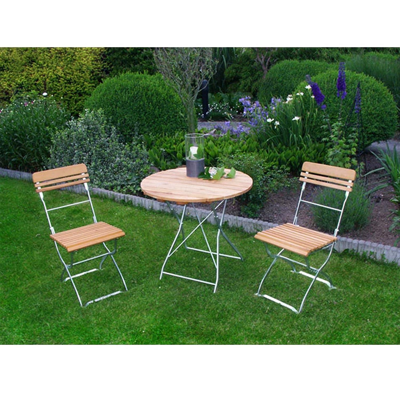 Garnitur MÜNCHEN 3-teilig verzinkt klappbar / 2x Stuhl, 1x Tisch