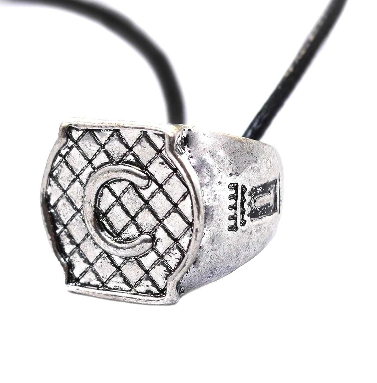Anillo con inicial grabada, collar de «Los Cazadores de sombras», anillo y collar inspirados en los ángeles de la «Ciudad de hueso», símbolo familiar Beaux Bijoux