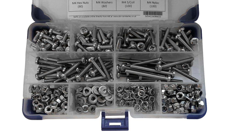 AHC K-10014 3 mm M3 acero inoxidable de cabeza A2 juego de tornillos con arandelas y tuercas (1120 piezas)