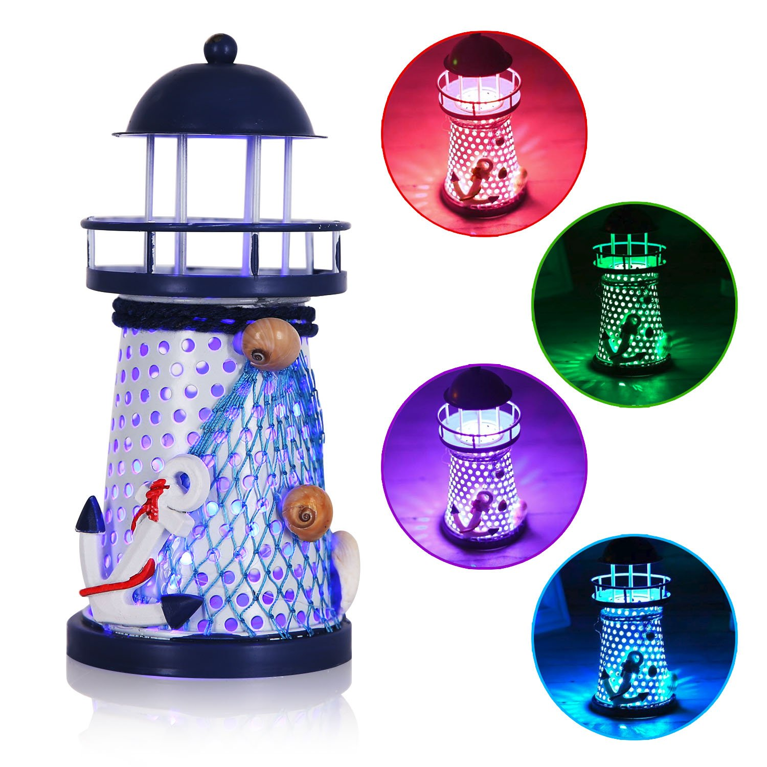 YESURPRISE Anchor Lighthouse Night Light Lamp Home Décor Color Changing LED Lantern Openwork Nautical Gifts for Kids Living Room Kitchen Desk Table Mediterranean Style Ocean Sea Beach Decoration by Yesurprise