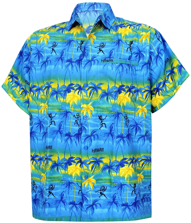 LA LEELA Shirt Camicia Hawaiana Uomo XS - 5XL Manica Corta Hawaii Tasca-Frontale Stampa Hawaiano Casuale Regular Fit Marrone640 *LA LEELA