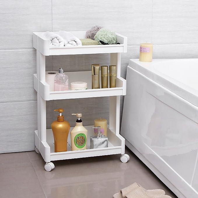 SONGMICS Carrito de plástico con 3 Niveles Estantería con Ruedas PP Organizador para Cocina y baño Almacenamiento Blanco KSC01WT: Amazon.es: Juguetes y ...
