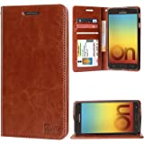 DMG Sturdy PU Leather Wallet Flip Book Cover Case for Samsung Galaxy On7 Prime (Latchless ID Brown)