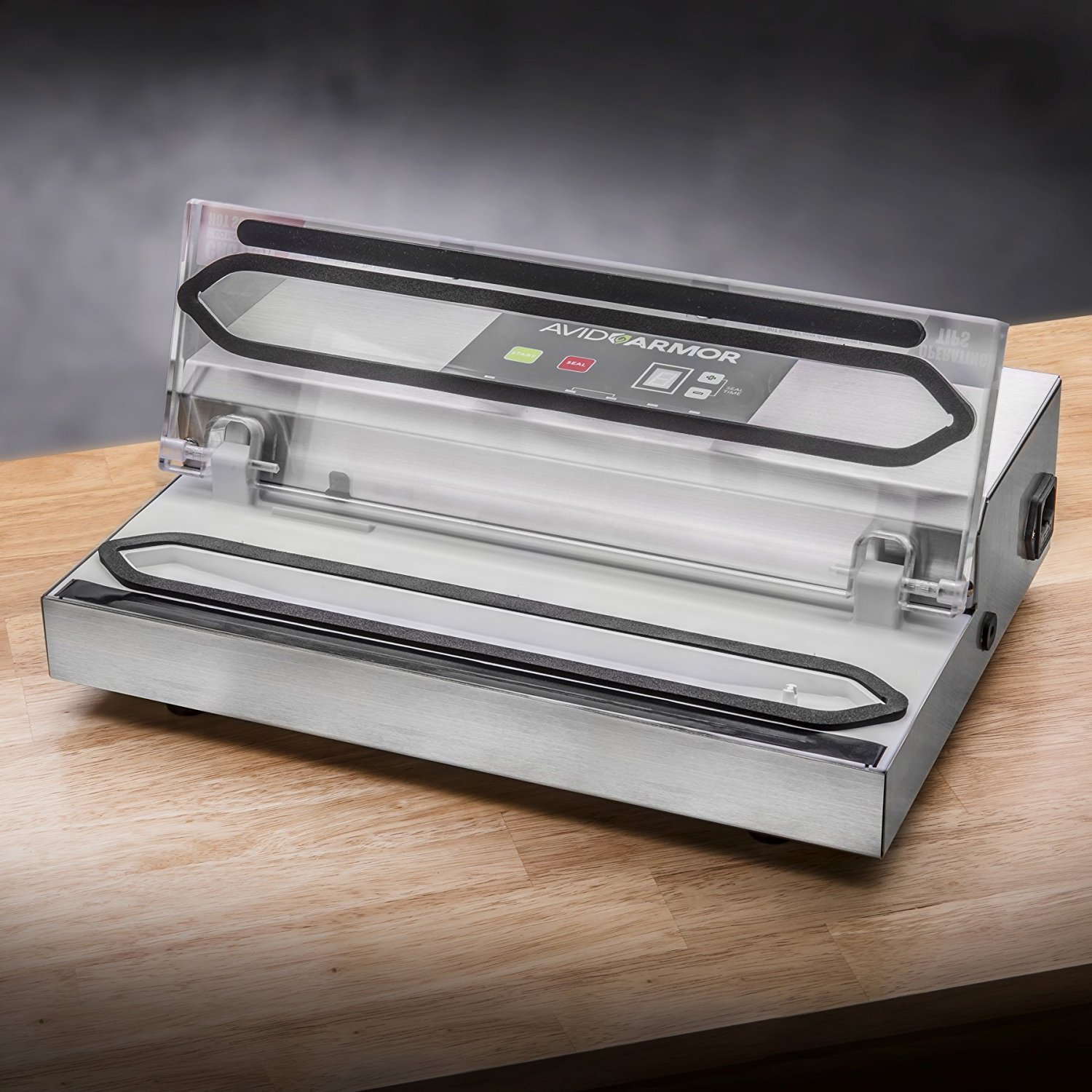 Avid Armor Vacuum Sealer Machine - A100 Stainless Construction, Clear Lid, Commercial Double Piston Pump Heavy Duty 12'' Wide Seal Bar Built in Cooling Fan Includes 30 Pre-cut Bags and Accessory Hose by Avid Armor (Image #3)
