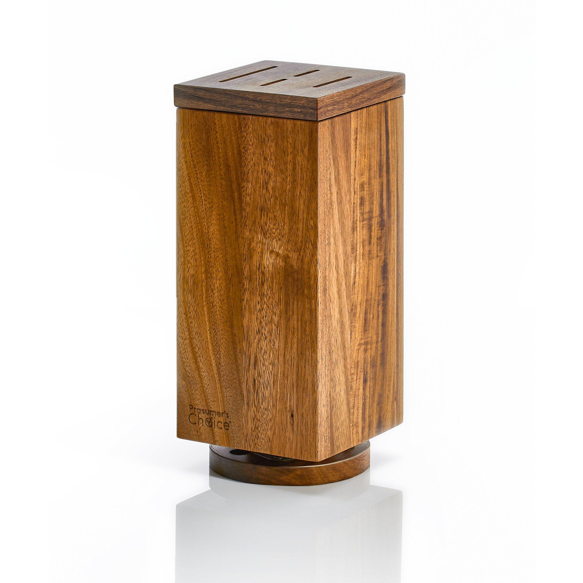 "Prosumer's Choice Universal 360° Rotating Wooden Knife Block | Utensil Holder w/Magnetic Sides – Large 11.5"" tall"