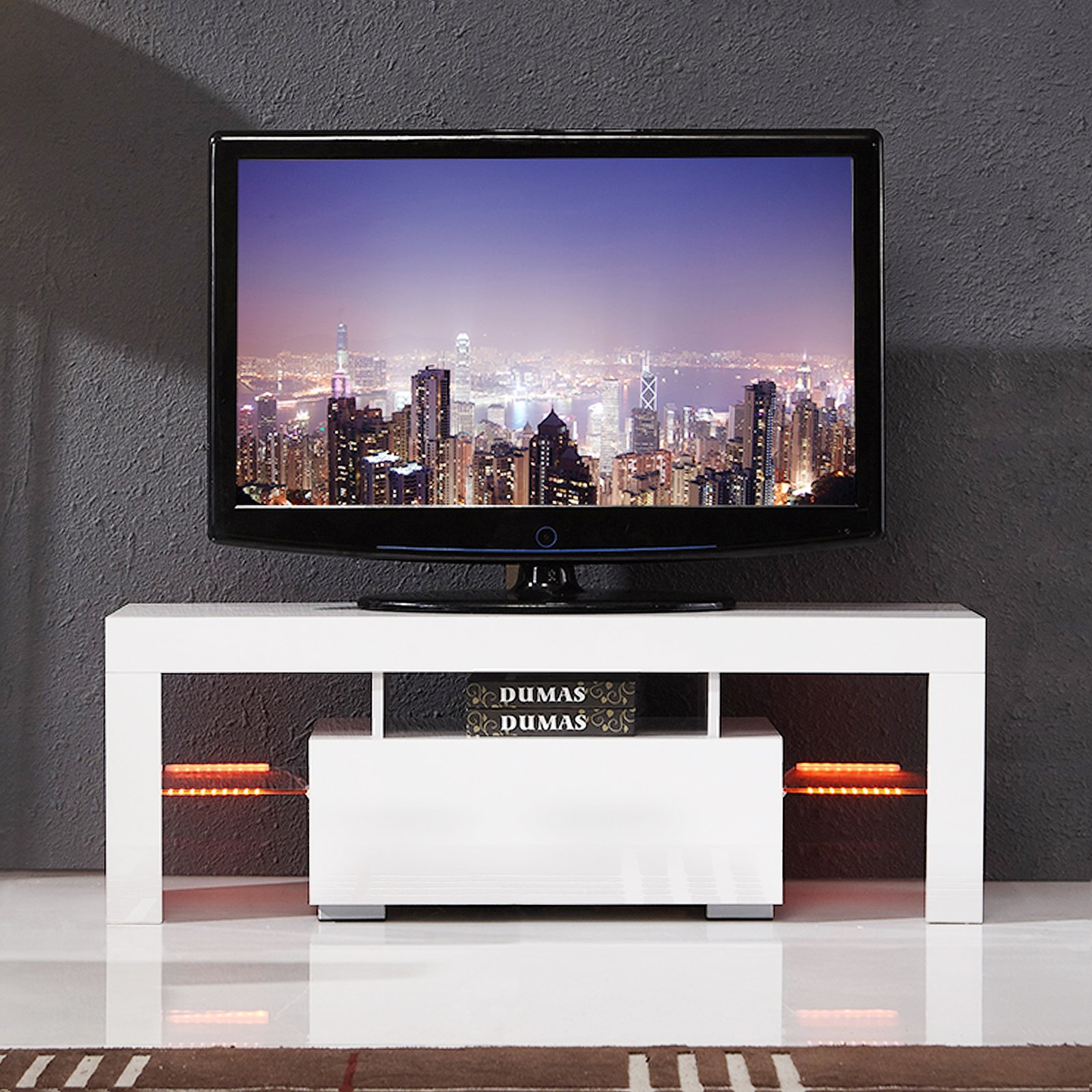 High Gloss LED Light Shelves TV Stand Unit Cabinet w/Drawer Console White