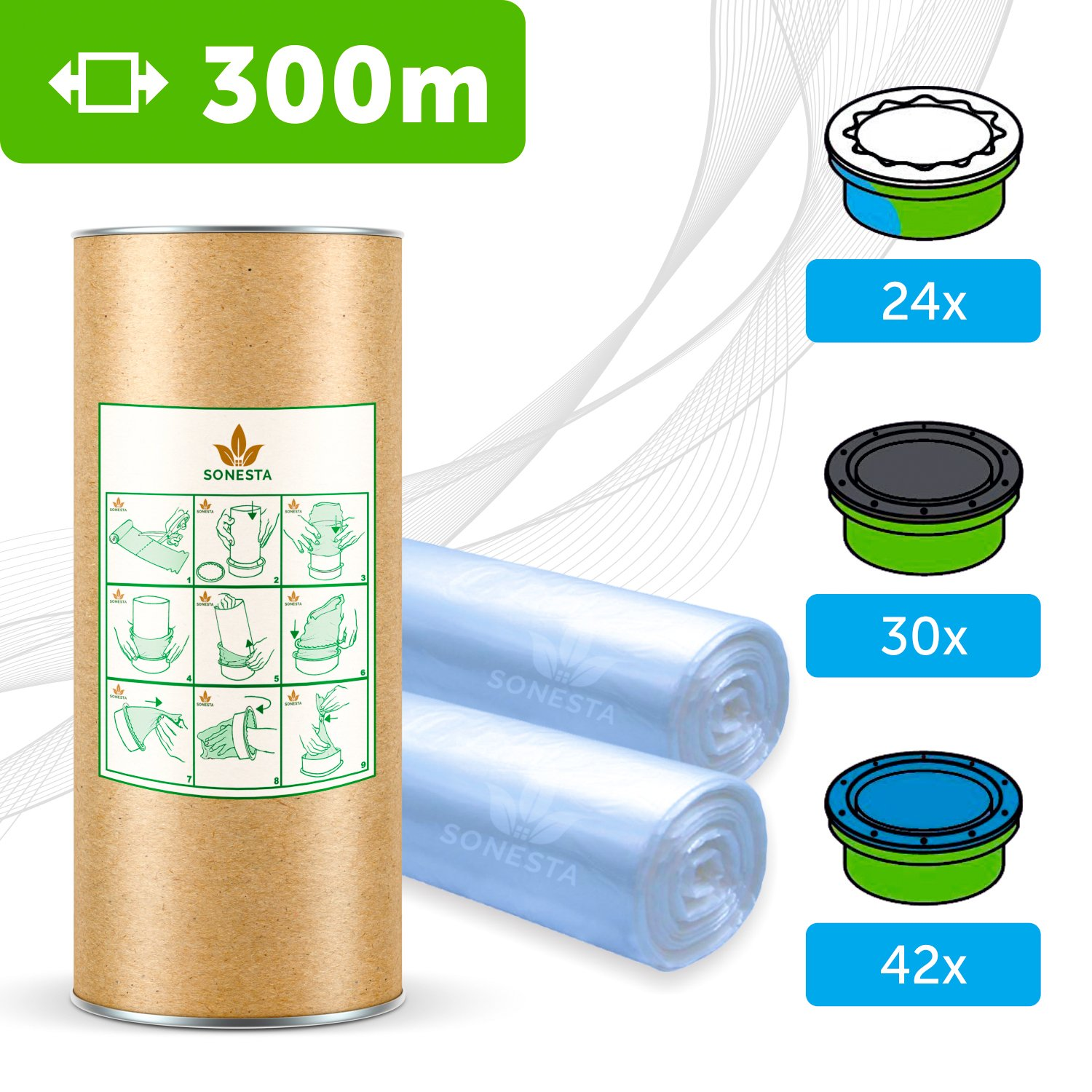 3 x Angelcare Nappy Disposal System Refill Cassettes 50m SOLGENIC LINER
