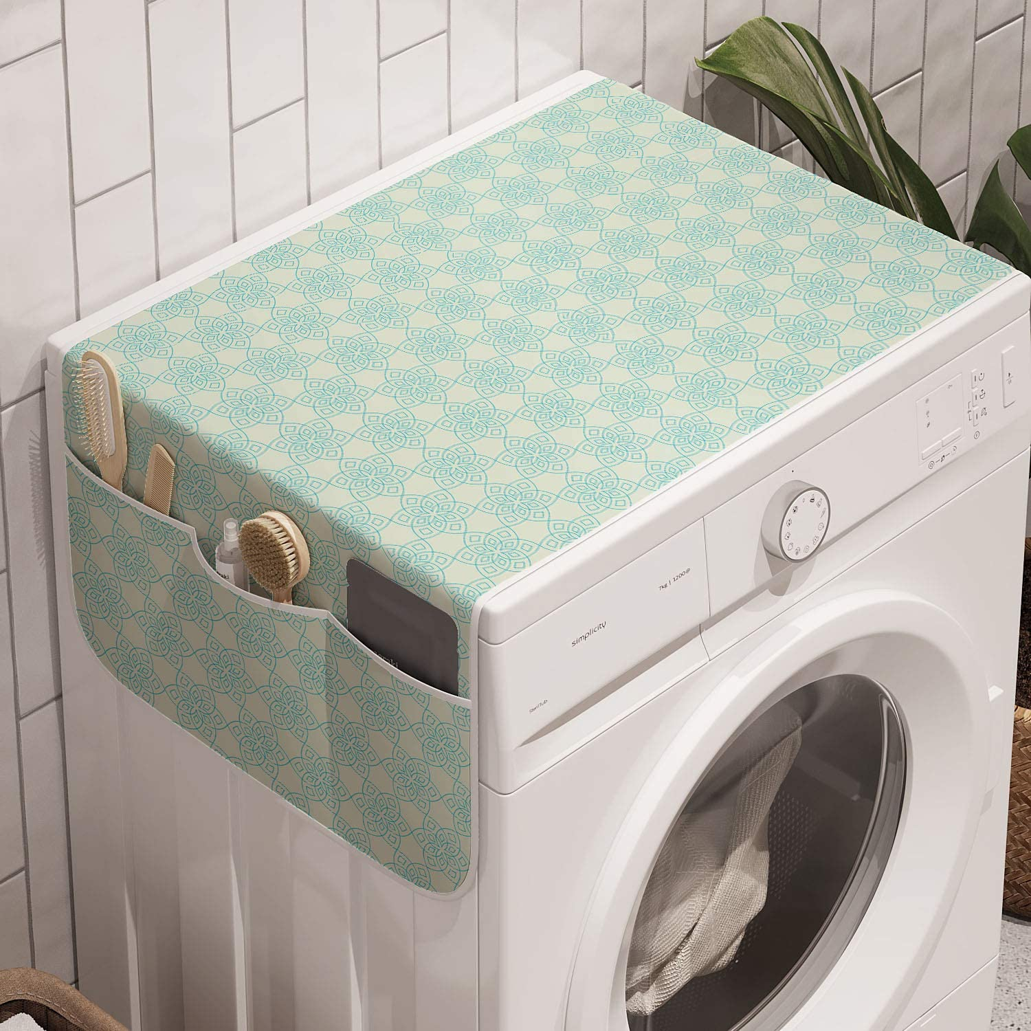 Amazon Com Ambesonne Ethnic Washing Machine Organizer Abstract Pattern With Outline Floral Lineart Oriental Motif Repetition Anti Slip Fabric Cover For Washers And Dryers 47 X 18 5 Pale Green And Pale Blue Kitchen