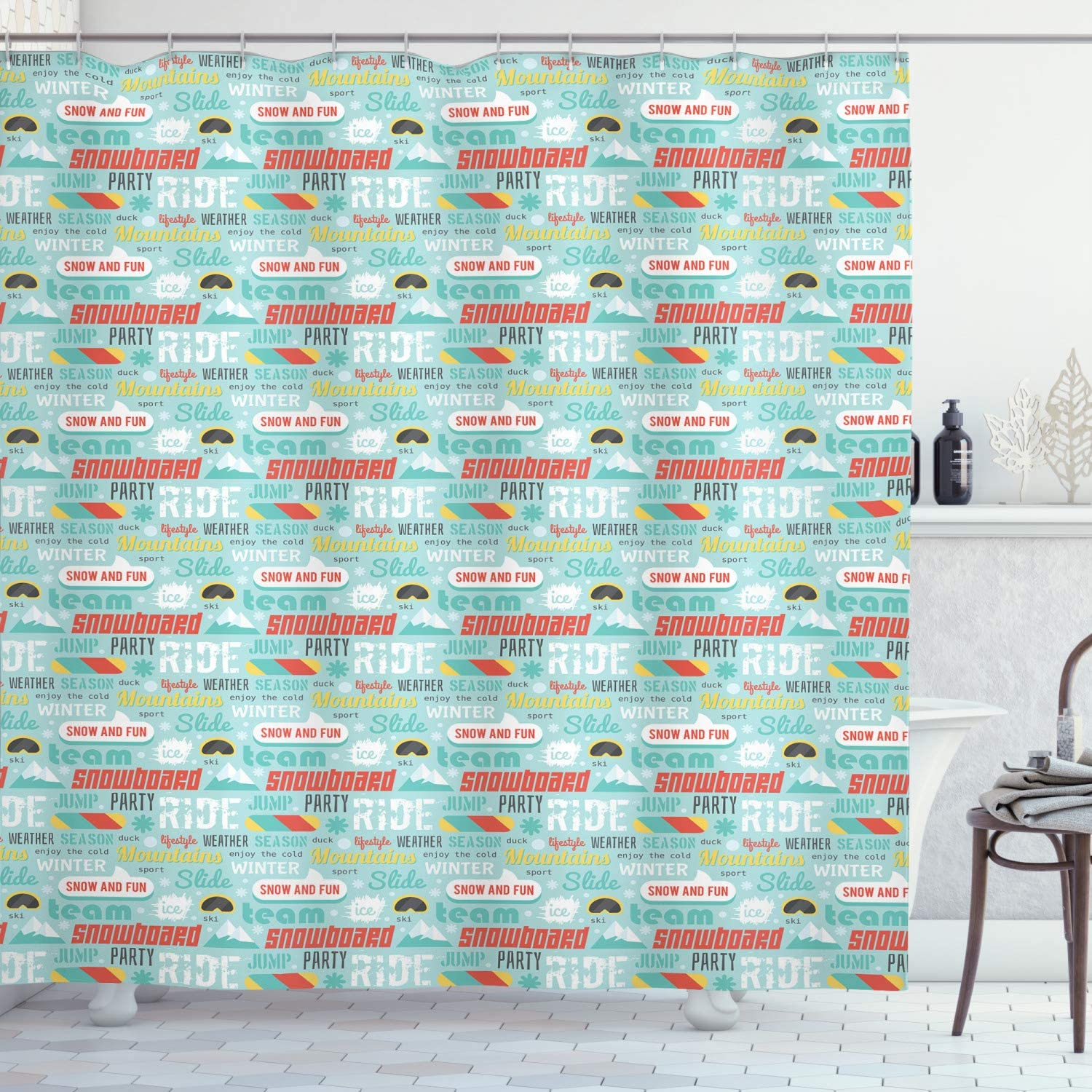 Amazon Com Ambesonne Winter Shower Curtain Seasonal Concept Words Enjoy The Cold Snow And Fun Snowboard Party Jump Ski Cloth Fabric Bathroom Decor Set With Hooks 70 Inches Seafoam Multicolor Home Kitchen