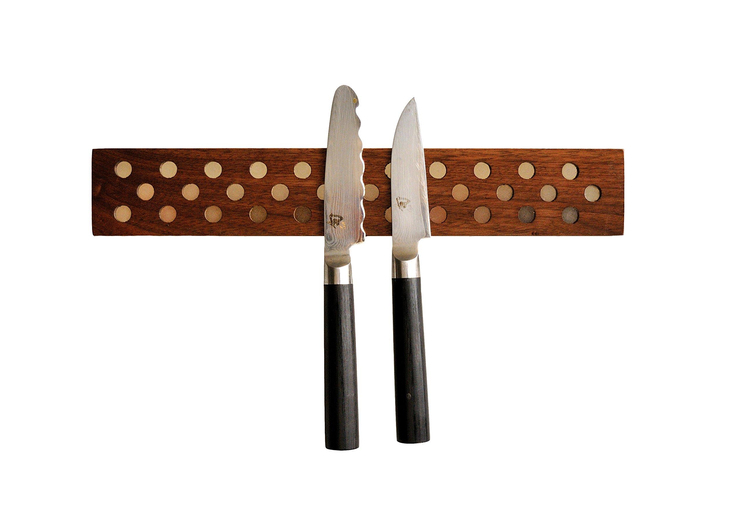Magnetic Wooden Knife Bar Holder: 12 INCH WALNUT, Danish Design Inspired by Jonathan Alden (Image #1)