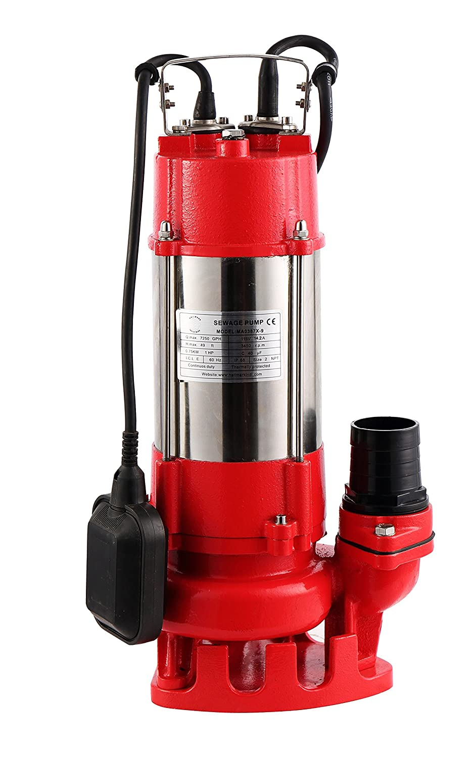 Hallmark Industries MA0387X-8 Sewage Pump with Float Switch, 5600 gpm, Stainless Steel, Heavy Duty, 3/4 hp, 115V, 38' Lift, 20' Cable