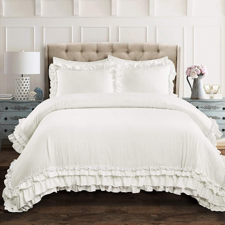 Lush Decor, White Ella Shabby Chic Ruffle Lace 3 Piece Comforter Set, Full/Queen