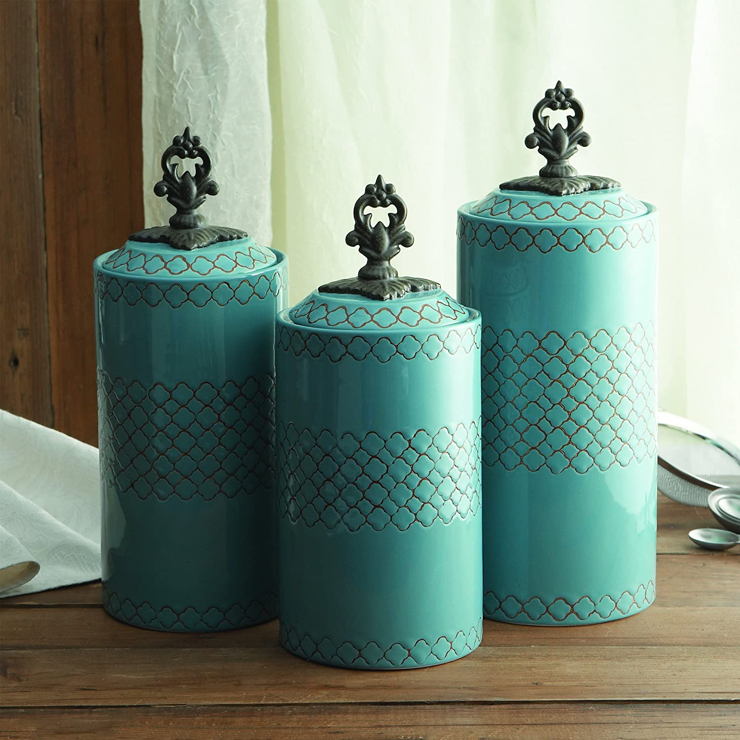 Amazon.com: American Atelier Canisters (Set of 3), Blue: Kitchen ...