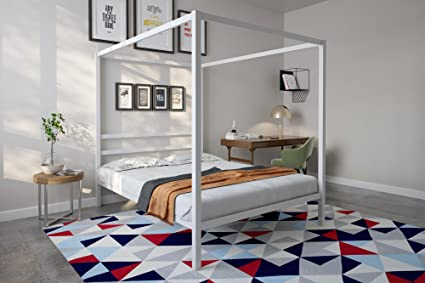 b0aa09d429f30 Amazon.com  DHP Modern Canopy Bed with Built-in Headboard