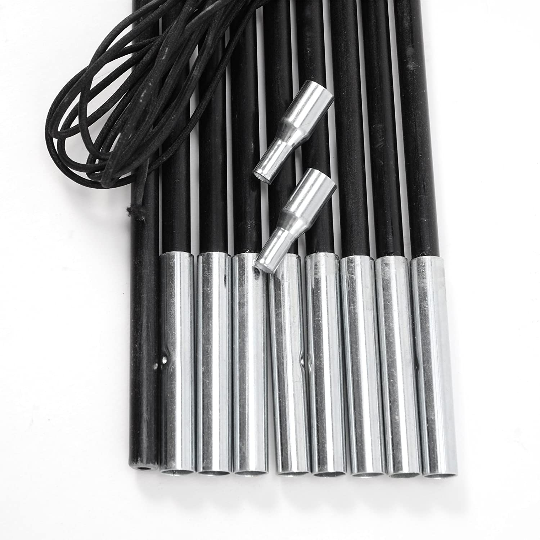 SurePromise One Stop Solution for Sourcing 8.5mm Palos Fibra Soporte de Tiendas de Campa/ña Toldo Tendal Pabell/ón Cuerda Espitas Tent Polacos para Acampada Camping 8.5mm Negro