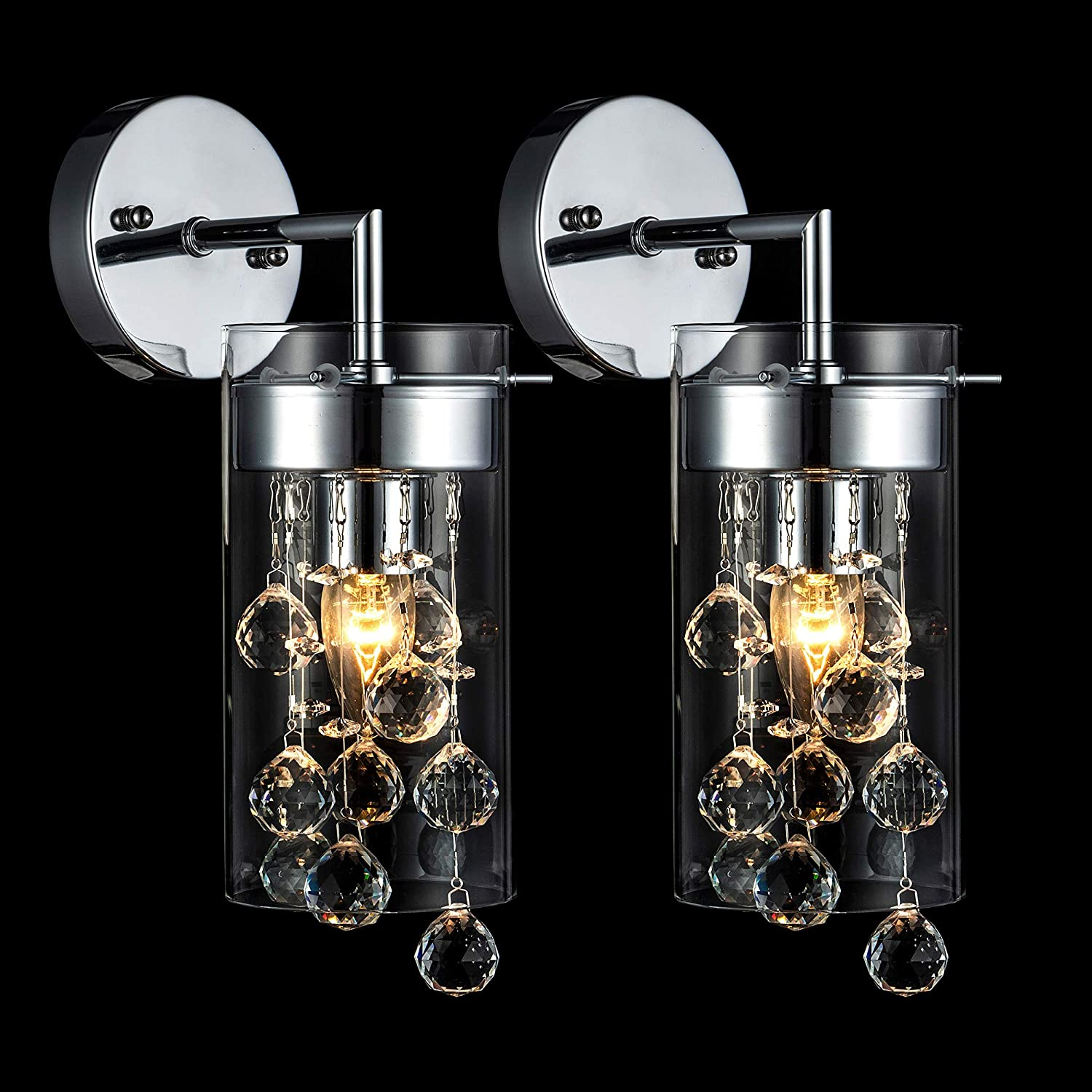 Loclgpm Modern Chrome Metal Crystal Wall Sconce, LED, Decorative Electric Set of 2 Wall Light with Glass Shade and Cord for Dining Room Bedroom Bathroom Living Room Hallway Kitchen Indoor Decor