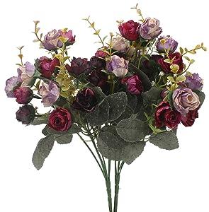 Duovlo 7 Branch 21 Heads Artificial Flowers Bouquet Mini Rose Wedding Home Office Decor,Pack of 2 (2 PCS Purple)