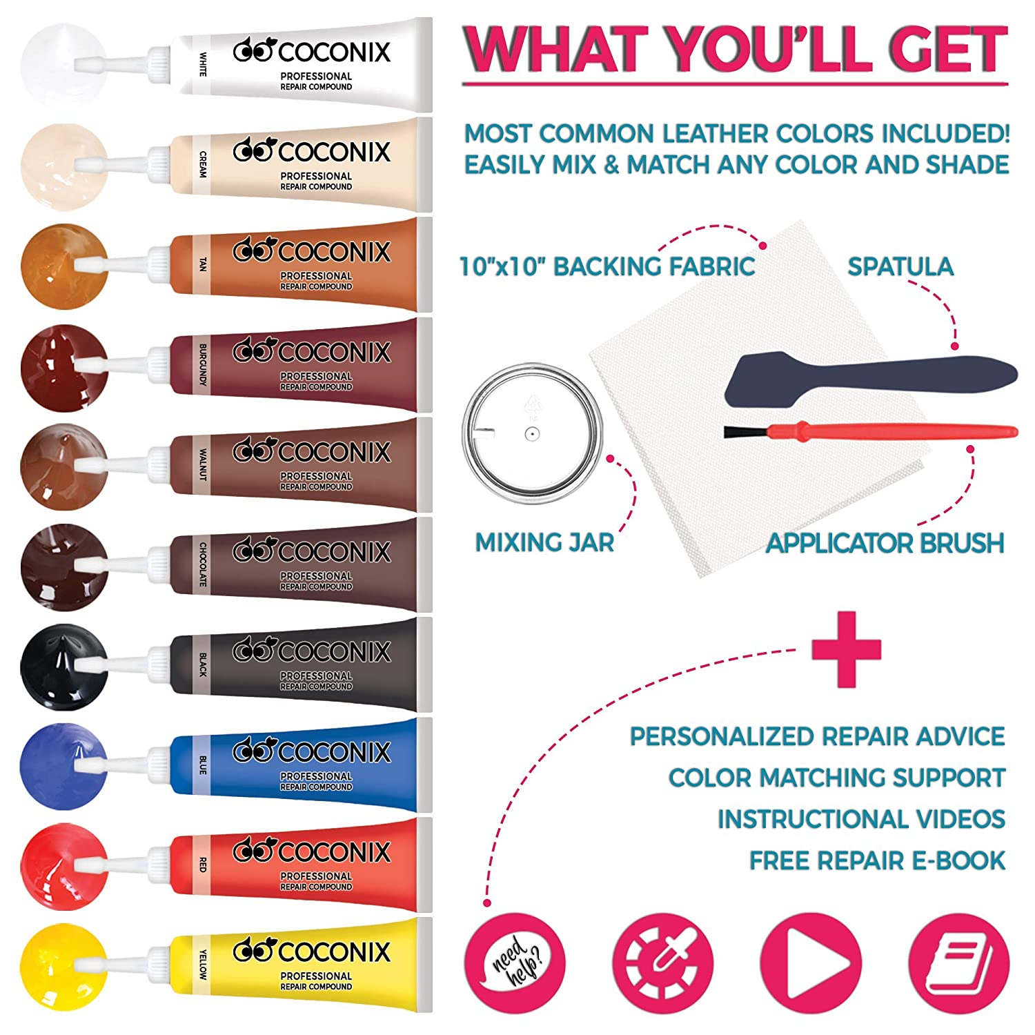 Coconix Vinyl and Leather Repair Kit - Restorer of Your Furniture, Jacket, Sofa, Boat or Car Seat, Super Easy Instructions to Match Any Color, Restore ...