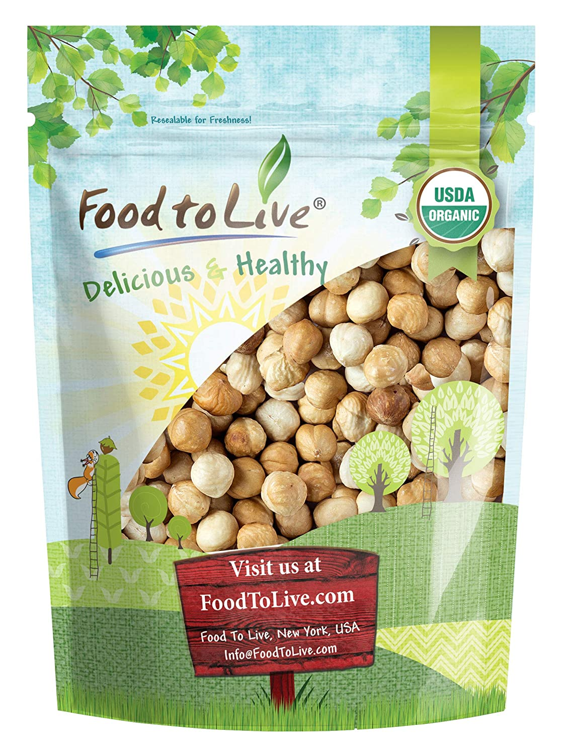 Organic Blanched Roasted Hazelnuts, 2 Pounds - Non-GMO, No Skin, Unsalted, Kosher, Vegan, Keto, Paleo, Dry Roasted Filberts in Bulk, Great for Snacks, Salads, and Granola