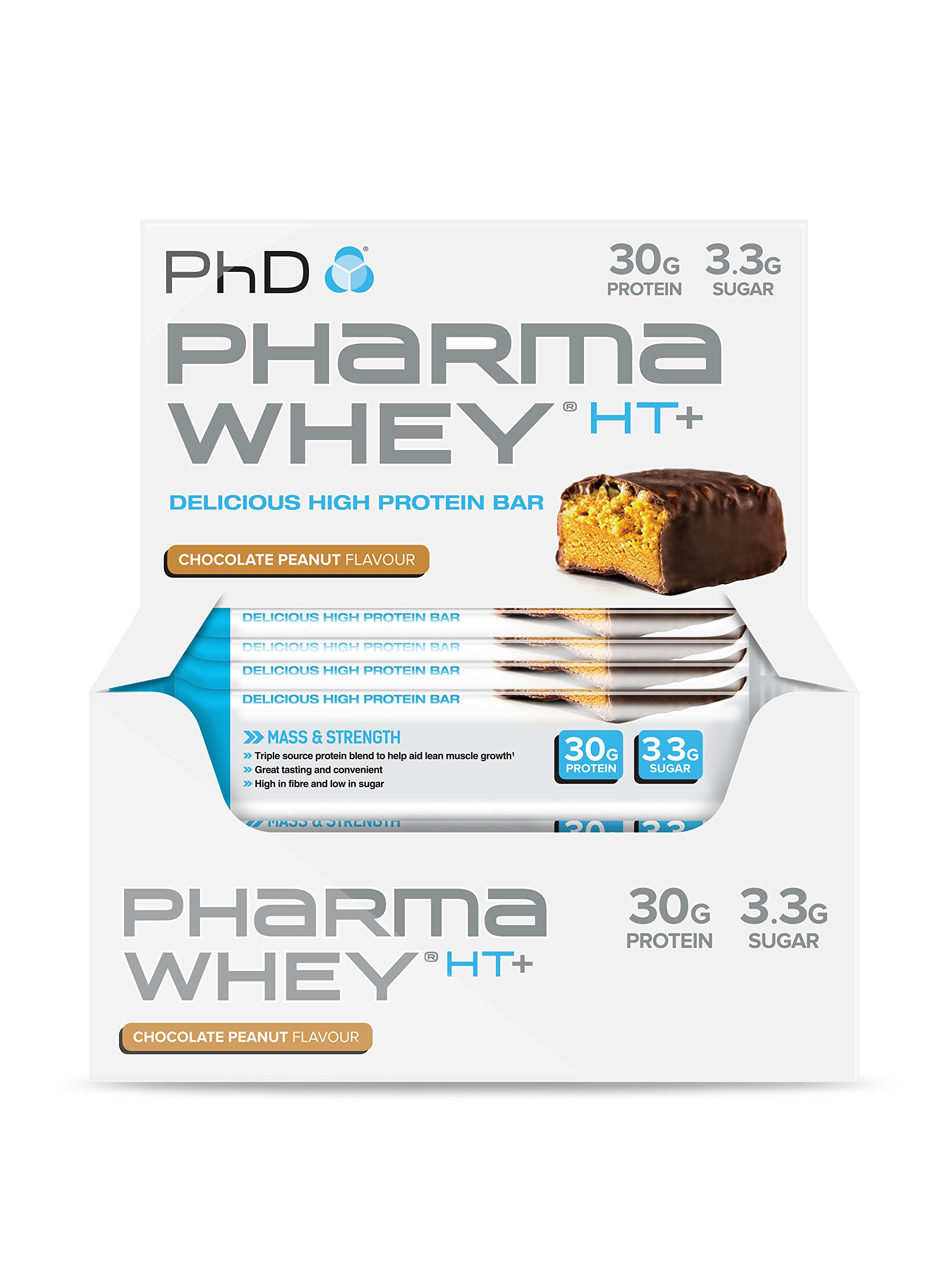 PhD Nutrition Pharma Whey HT+ Protein Bars, Chocolate Peanut, Pack of 12 x 75g product image