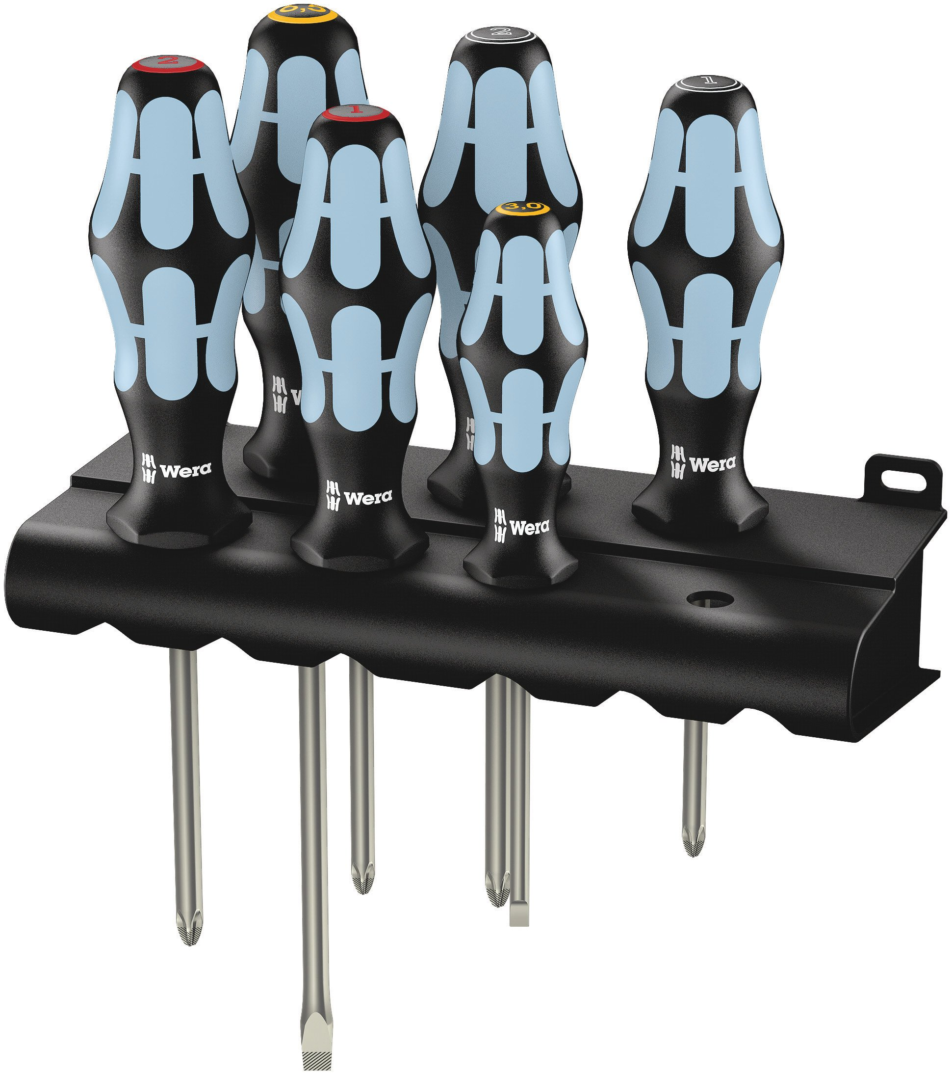 Wera 05032063001 Kraftform Stainless 3334/3350/3355/6 Stainless Steel Slotted/Phillips/Pozidriv Screwdriver Set and Rack, 6-Piece