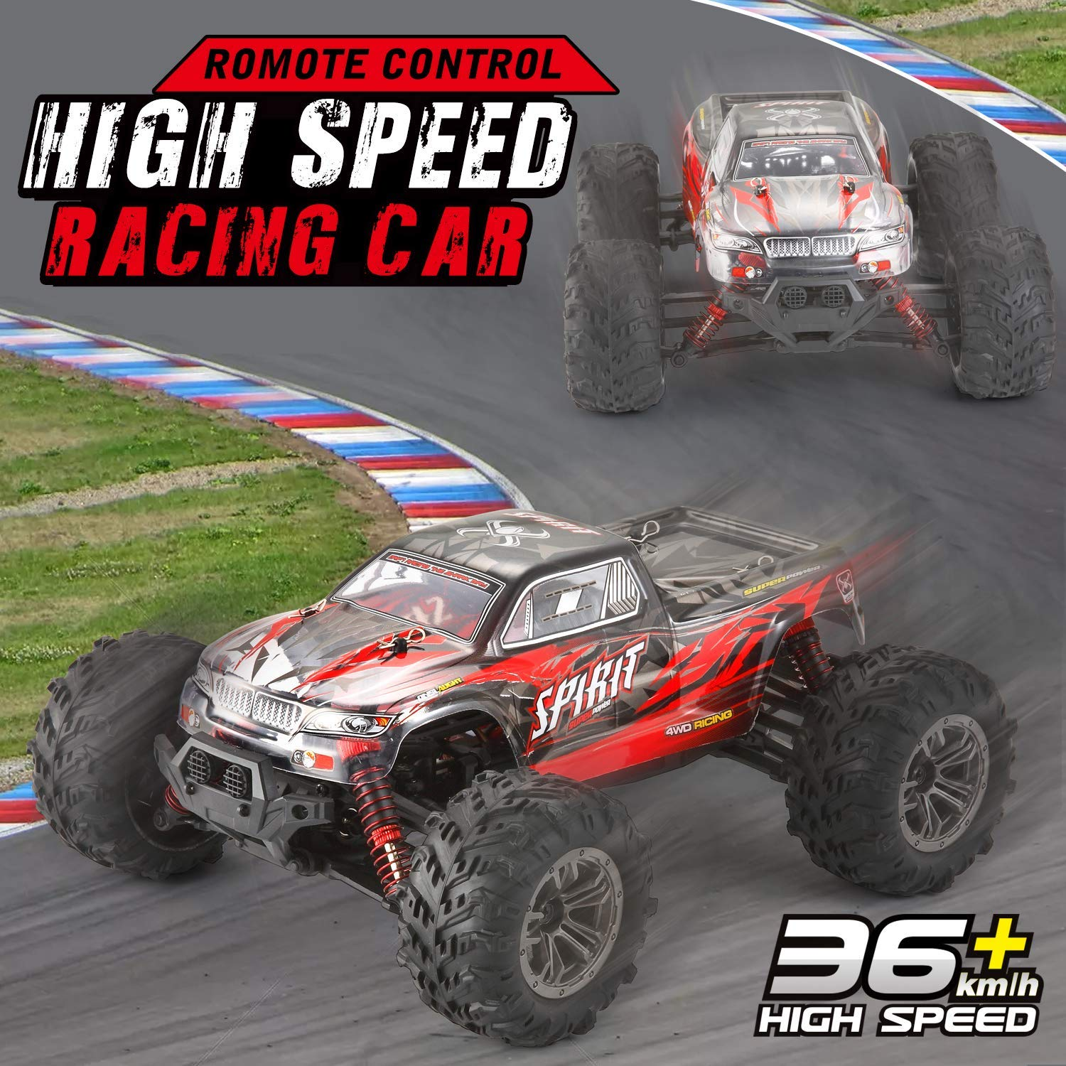 VATOS Remote Control Car High Speed Off-Road Vehicle 1:16 Scale 36km/h 4WD 2.4GHz Electric Racing Car RC Buggy Vehicle Truck Buggy Crawler Toy Car for Adults and Kids by VATOS (Image #2)