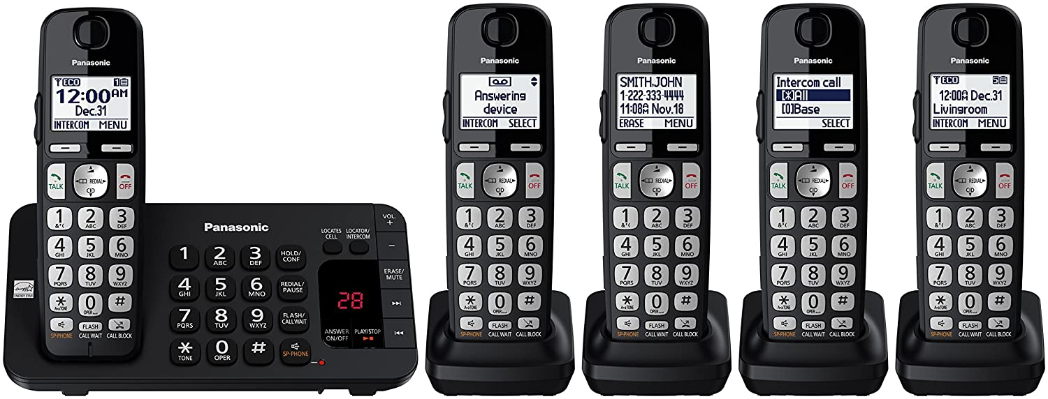 Panasonic Kx Tge445b Cordless Phone With Answering The Link Telephone Intercom Every Home Should Have One Circuit Machine 5 Handsets Electronics