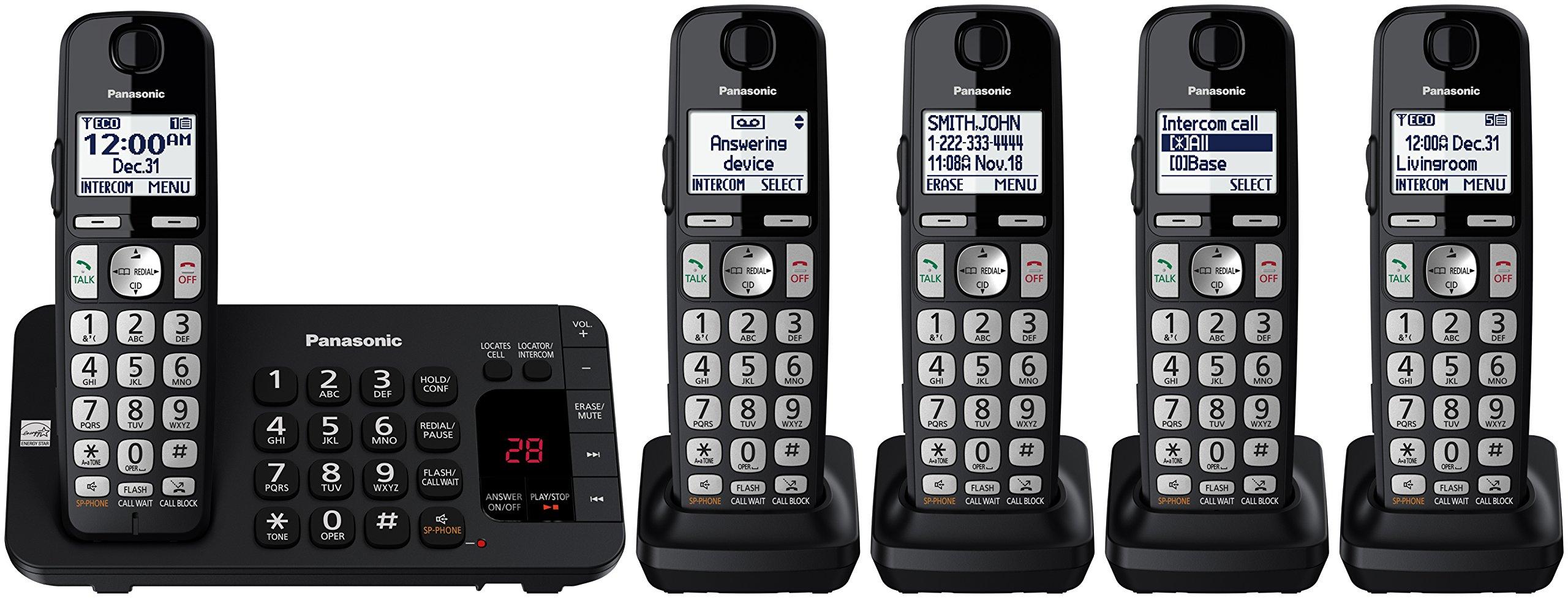 Panasonic KX-TGE445B Cordless Phone with  Answering Machine- 5 Handsets by Panasonic