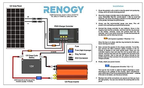 renogy wiring diagram wiring diagramamazon com renogy monocrystalline 50w watts solar panel ul listedamazon com renogy monocrystalline 50w watts solar