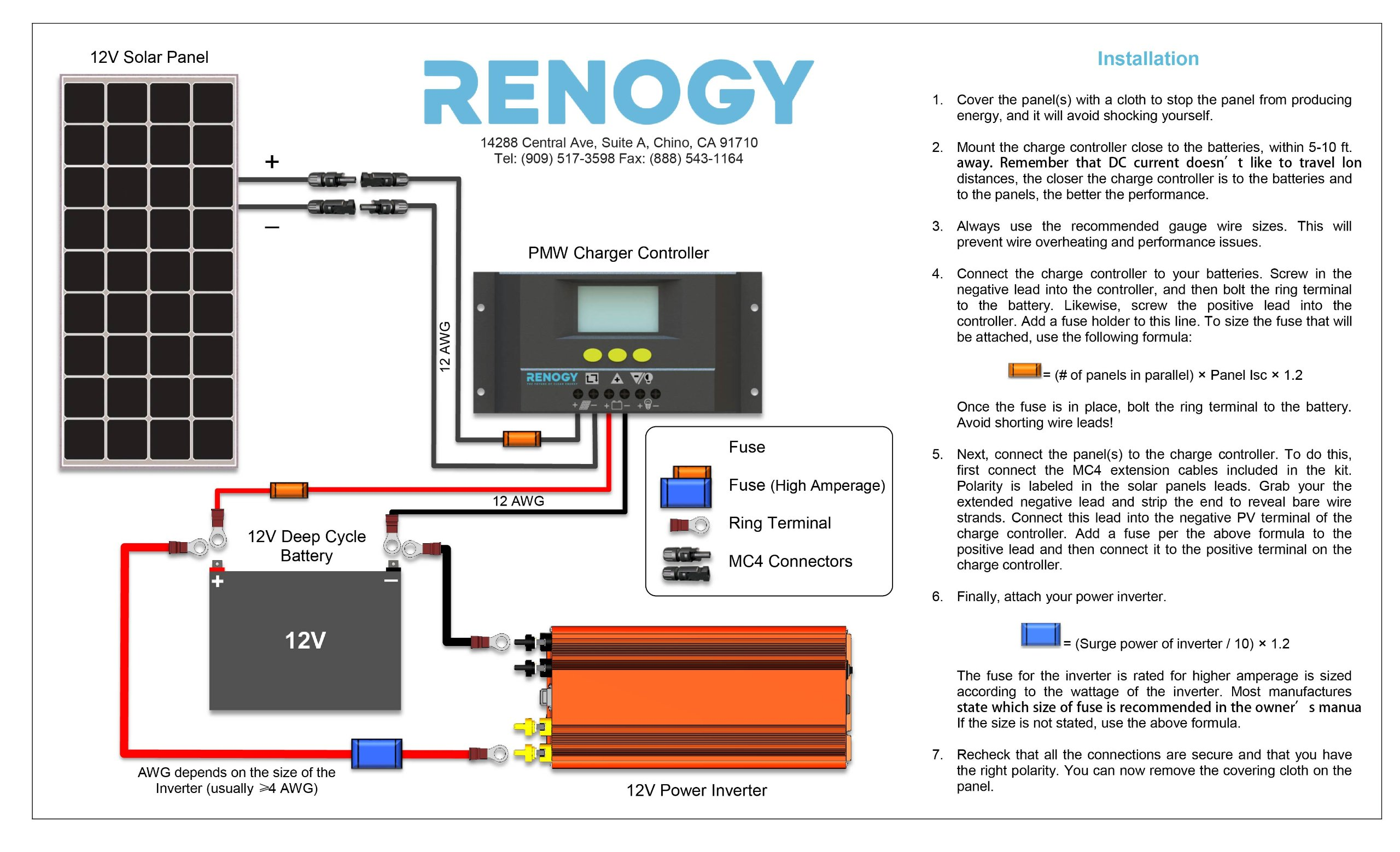 Renogy 100 Watts 12 Volts Monocrystalline Solar Panel Bundle Kit Volt Battery Parallel Wiring Diagram With 30a Negative Ground Charge Controller 9in Mc4 Adaptor Rng Bundle100d