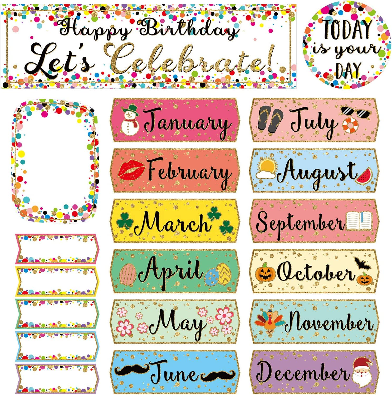 Confetti Happy Birthday Mini Bulletin Board Let's Celebrate Birthdays Bulletin Board Sign for Classroom Decorations Bulletin Board Decor Supplies