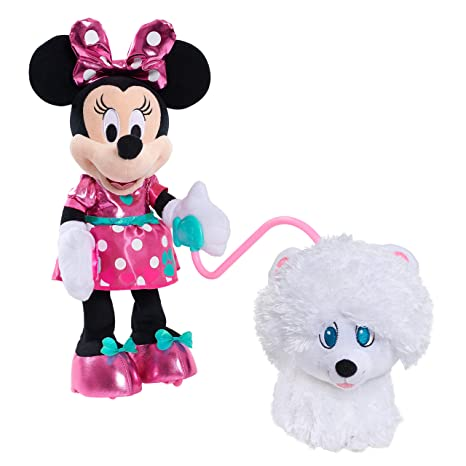 cd5c2ec339 Amazon.com: Just Play 13746 Minnie Walk & Play Puppy Feature Plush- Brown  Mailer: Toys & Games