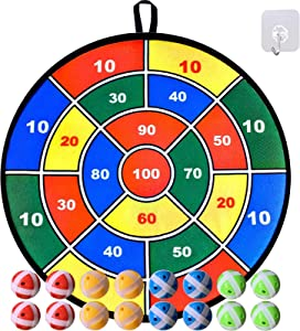 """Dart Board Game for Kids, Large 29"""" Fabric Dart Board with 16 Sticky Balls, Darts Board Set with Hook, Safe Christmas Toy Gift for Boys Girls Children"""