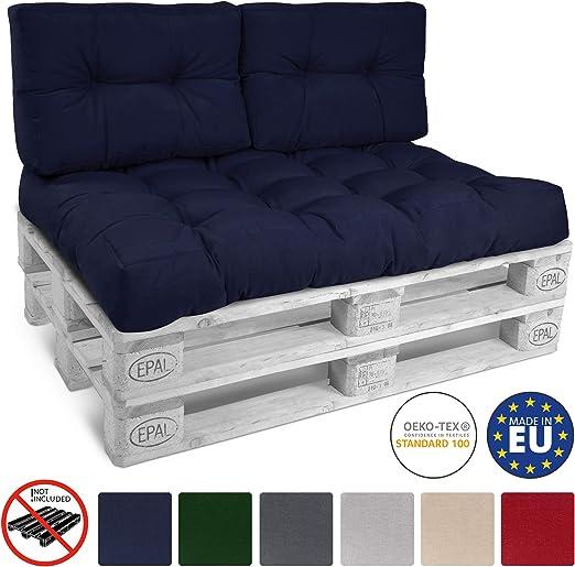 Beautissu Cojines para palés, sofá-Palet y europalet Eco Style - Cojines de Apoyo Acolchado 2X 60x40x10-20 cm Color: Azul Marino Elegir in/Outdoor: Amazon.es: Jardín