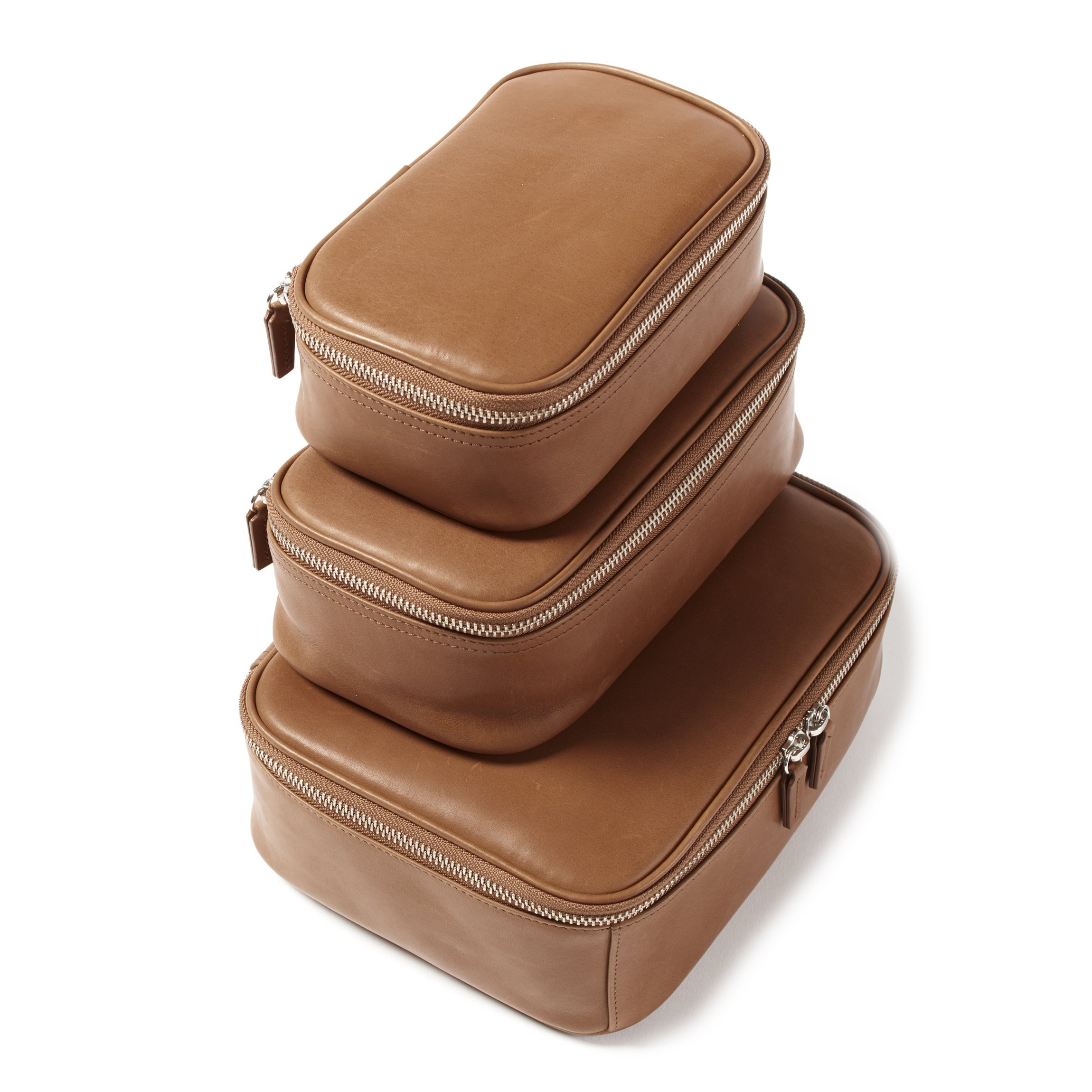 Leatherology Nested Travel Organizer Trio - Full Grain German Leather Leather - Dark Caramel (brown)