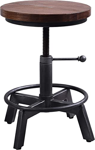Industrial Swivel Bar Stool-Farmhouse Stool-Metal Round Wood Bar Stool-Counter Height Kitchen Dining Stools-Vintage Adjustable Stool-Cast Iron Rustic Bar Stool-15-21 Inch