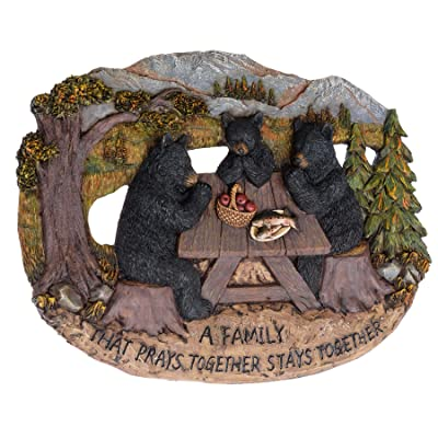 Pine Ridge Family That Prays Together Bear Plaque: Home & Kitchen [5Bkhe0501849]