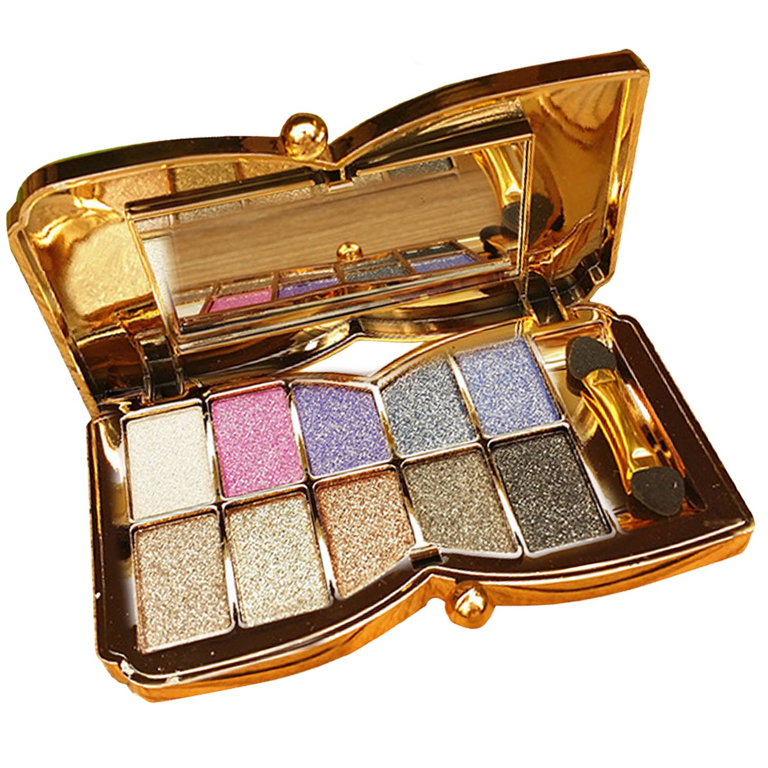 10 Colors Diamond Shining Eyeshadow Palette Makeup Cosmetic Foundation Eye shadow Palette with Double-sided Makeup Stick Tool Set Number 4 Elisona