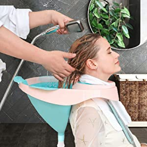 Portable Shampoo Bowl - Foldable Hair Washing Tray for Sink at Home, Portable Sink for Washing Hair Shampoo Basin Hair Washing Basin for Bedridden, Portable Hair Washing Sink for Elderly, Patient