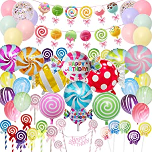 Candyland Party Supplies Set - 64pcs,Candy Party Decorations with Lollipop Banner,Sweet Candy Balloons,Candy Cake Toppers,Latex Balloons for Girls,kids,Candyland Party,Lollipop Party,Birthday