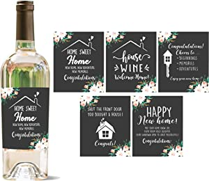 YouFangworkshop First New Home House Homeowner Wine Bottle Labels Gifts, Housewarming Milestones Sticker, Set of 5 Waterproof Wine Bottle Sticker Covers for Congrats Home Sweet Home Party Presents