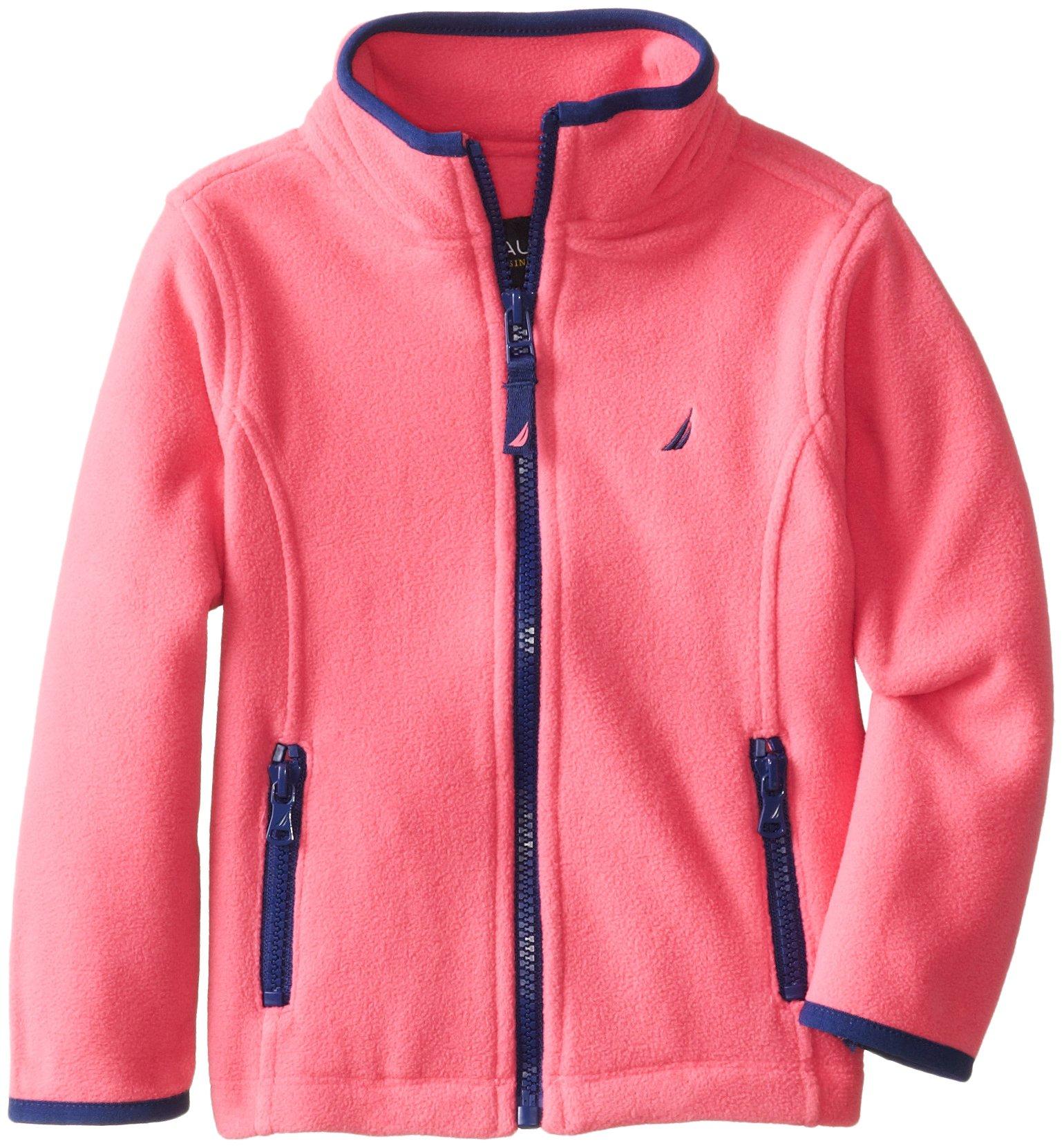 Nautica Little Girls' Toddler Polar Fleece Front Zip Jacket, Pink, 4T