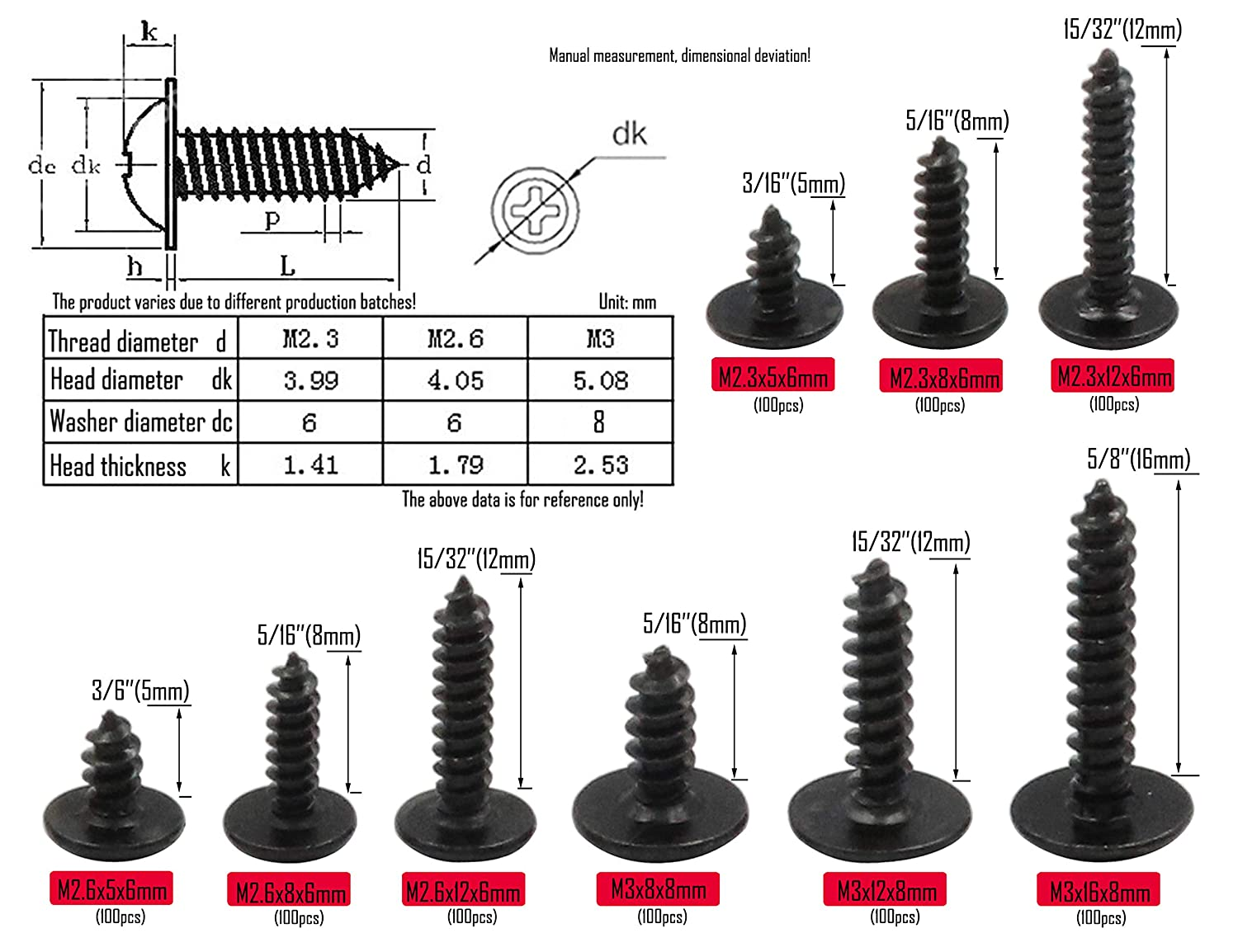 Pan Head with Washer Screw 9 Sizes Self Tapping Screws Assortment Kit Carbon Steel Blacking LBY 900pcs M2.3 M2.6 M3 Phillips Truss Head Self Tapping Screws Wafer Head Screws