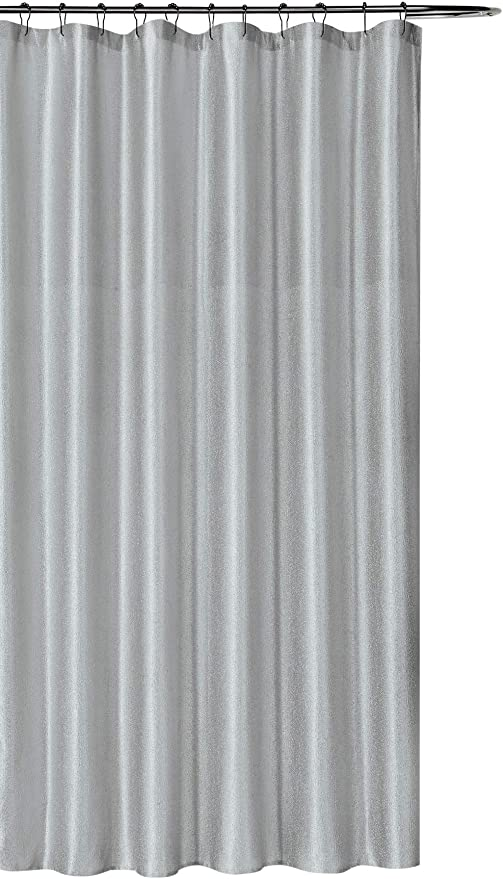 luxury grey fabric shower curtain shimmering textured jacquard cloth silver