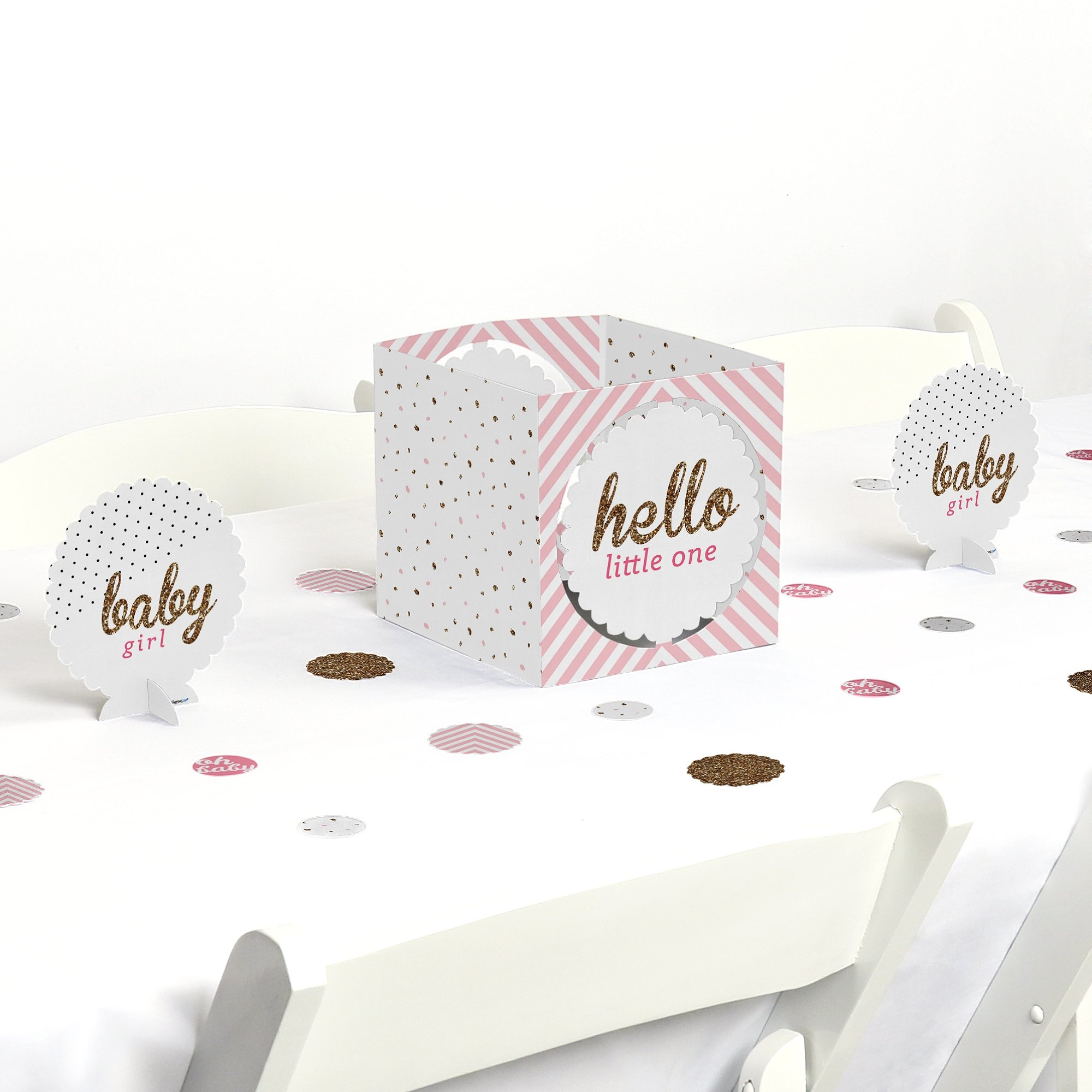 Big Dot of Happiness Hello Little One - Pink and Gold - Girl Baby Shower Centerpiece & Table Decoration Kit
