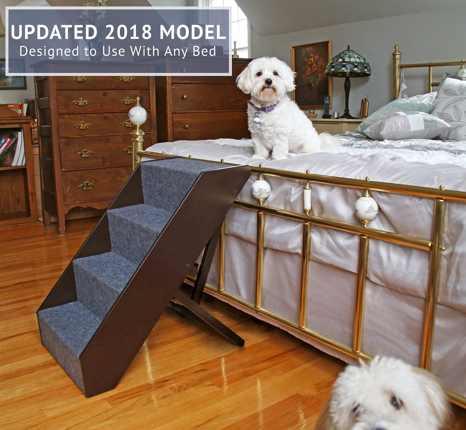 Arf Pets Wood Dog Stairs, 4 Levels Height Adjustment Wide Pet Steps, Foldable by Arf Pets (Image #3)