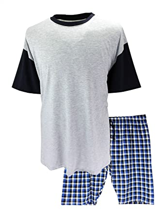 438f0c9de5 Big and Tall Size PJS Plain Pyjamas Set Plus Size Nightwear - Grey Blue  Check