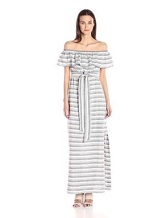 Vince Camuto Women's Stripe Cotton Off Shoulder Maxi, Navy/Ivory, 2